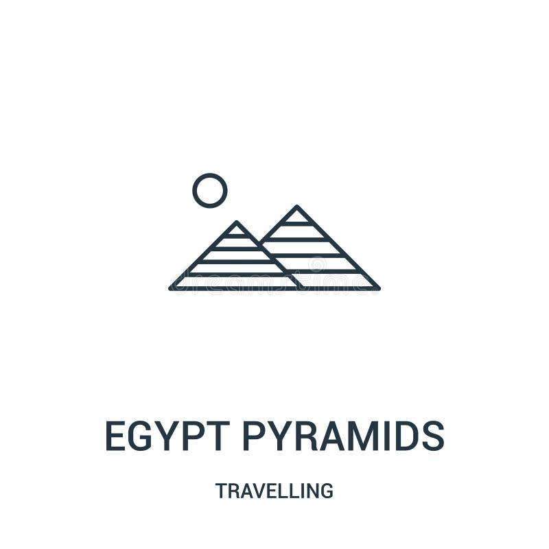 Ägypten-Pyramidenikonenvektor von reisender Sammlung Dünne Linie Ägypten-Pyramidenentwurfsikonen-Vektorillustration Lineares Symb stock abbildung