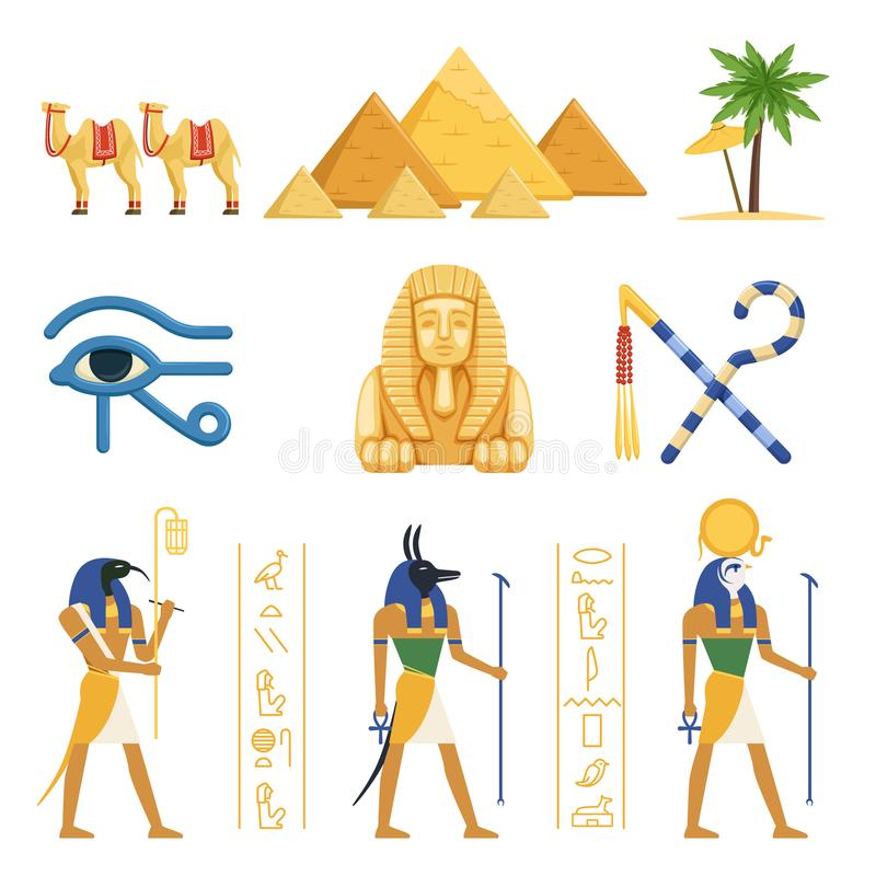 Ägypten-Satz, ägyptische alte Symbole der Befugnis der Pharaos und bunte Illustrationen Vektor der Götter vektor abbildung