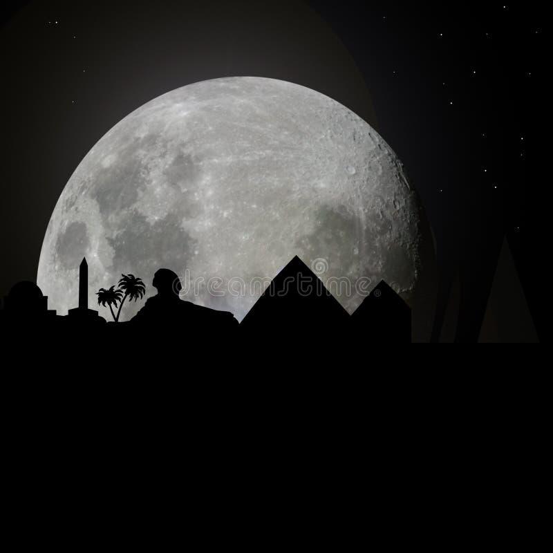 Ägypten-Skyline bis zum Nacht mit Mond lizenzfreie abbildung