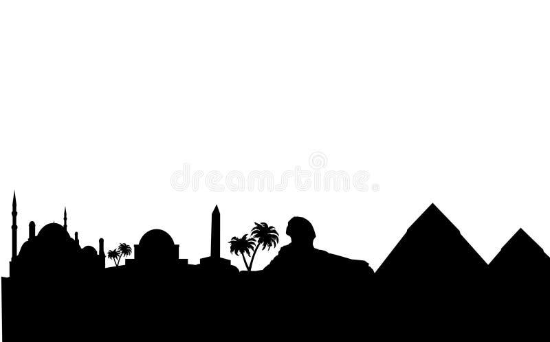 Ägypten-Skyline und Grenzsteinschattenbild stock abbildung