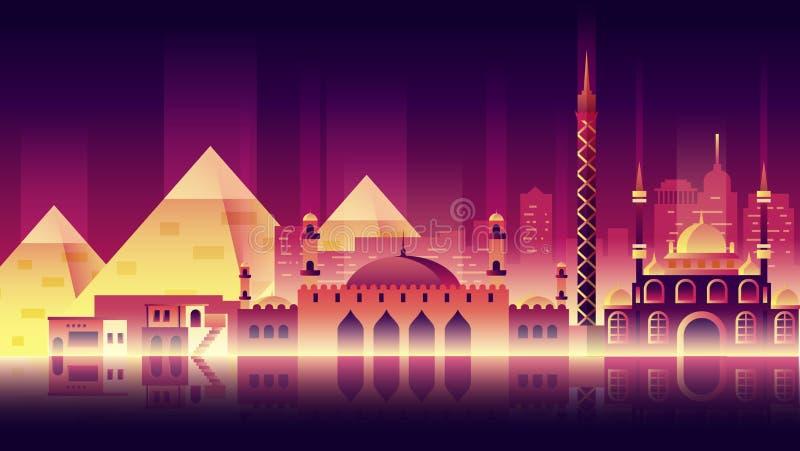 Ägypten-Stadtnachtneonartarchitekturgebäudestadtlandreise stock abbildung