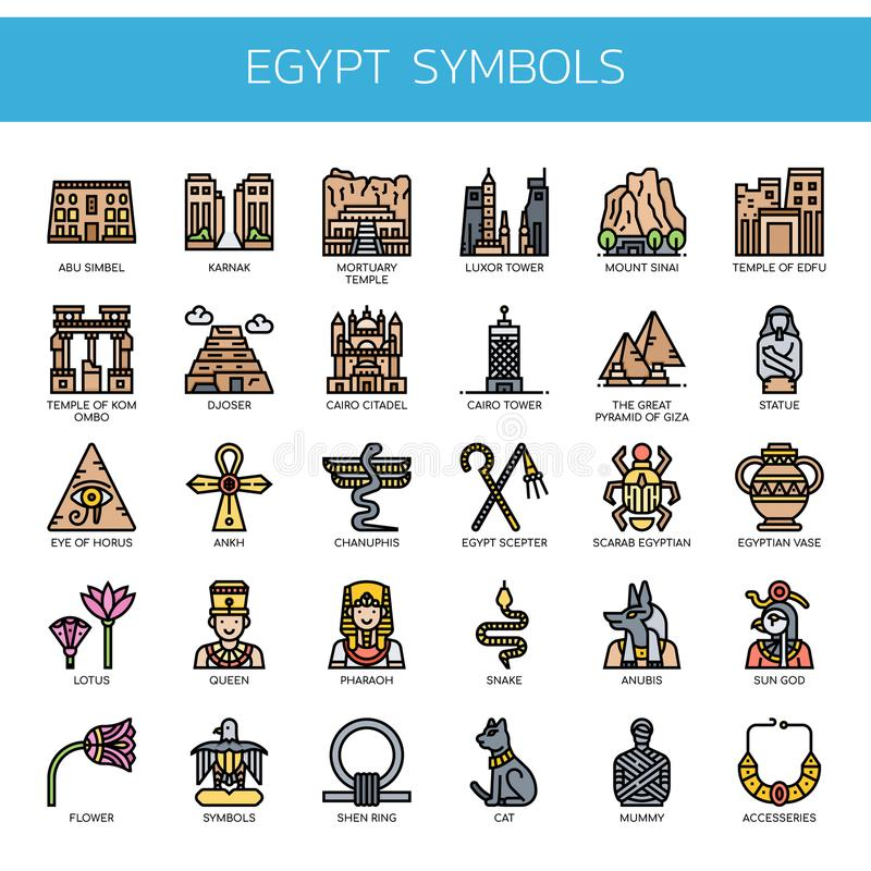 Ägypten-Symbole, Pixel-perfekte Ikonen stockbilder