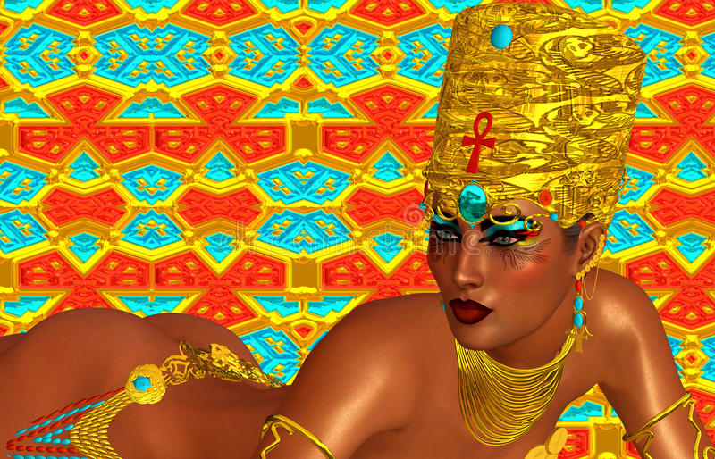 Ägypter, Kleopatra in unserer modernen digitalen Kunstart, Abschluss oben stock abbildung