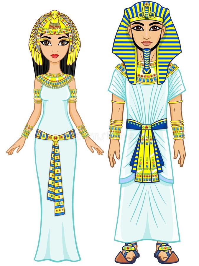 Ägyptische Kaiserfamilie der Animation in der alten Kleidung volles Wachstum stock abbildung
