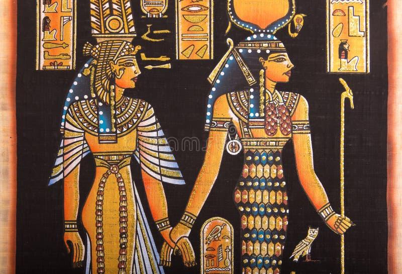 Ägyptische Malerei auf Papyrus stockbild