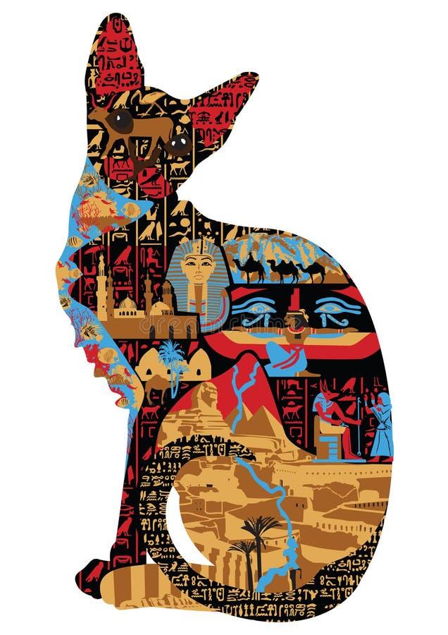Ägyptische Muster in der Katze lizenzfreie abbildung