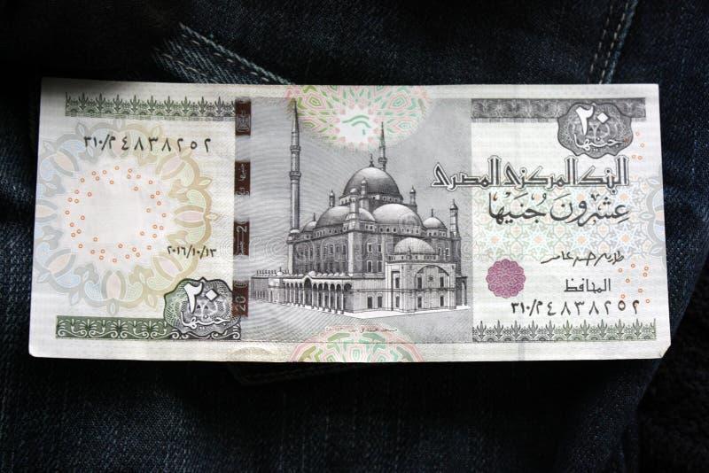 20 ägyptische Pfunde großer Vorderspant der Banknoten Mohammed Ali Mosque in Kairo, hinter der Malerei des ersten Pharaos lizenzfreie stockbilder