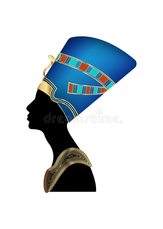 Ägyptische Schattenbildikone Königin Nefertiti Vector Porträt Profil mit Goldjuwelen und -Edelsteinen lizenzfreie abbildung