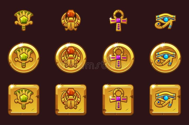 Ägyptische Symbole des Vektors mit farbigen kostbaren Edelsteinen Goldene Ikonen Ägyptens in den verschiedenen Versionen lizenzfreie abbildung