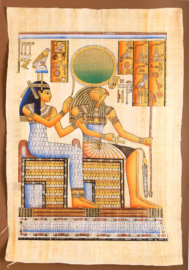 Ägyptischer Gott Horus auf Papyrus stockfotos