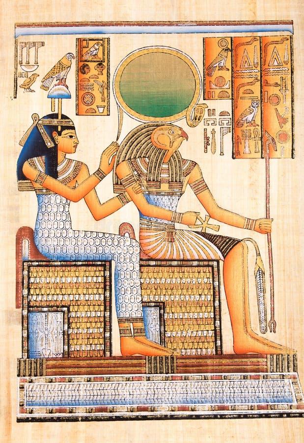 Ägyptischer Gott Horus auf Papyrus stockfoto