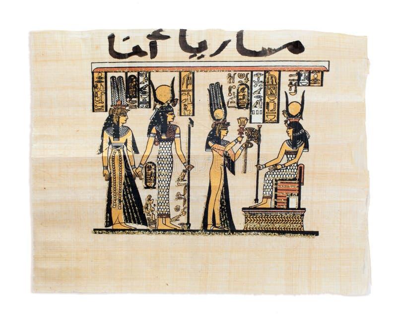 Ägyptischer Papyrus, der Nefertari und Isis zeigt stockfotografie
