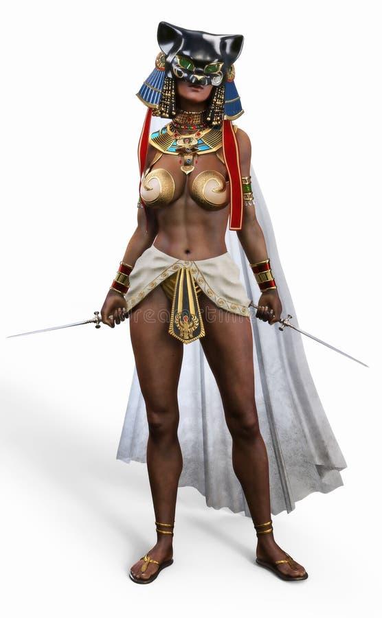 Ägyptischer weiblicher tödlicher Meuchelmörder, der auf einem lokalisierten weißen Hintergrund aufwirft vektor abbildung