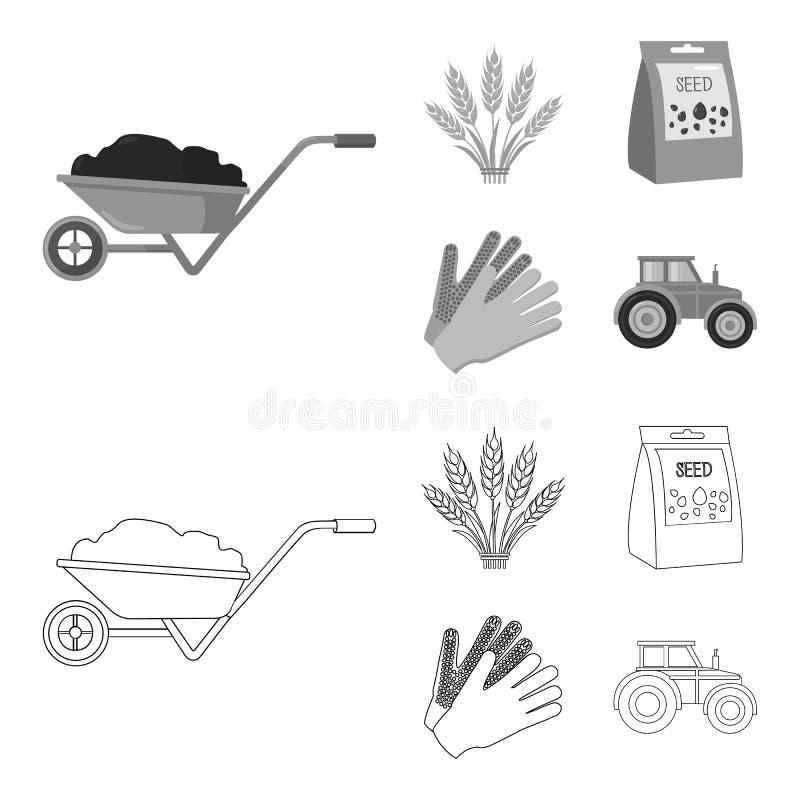 Ährchen des Weizens, ein Paket von Samen, ein Traktor, Handschuhe E lizenzfreie abbildung