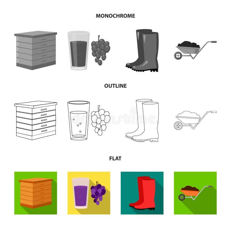 Ährchen des Weizens, ein Paket von Samen, ein Traktor, Handschuhe Gesetzte Sammlungsikonen des Bauernhofes in der Ebene, Entwurf, vektor abbildung