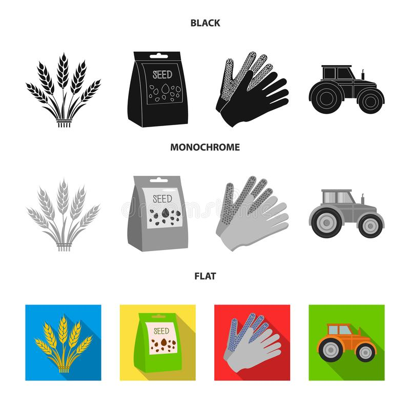 Ährchen des Weizens, ein Paket von Samen, ein Traktor, Handschuhe Gesetzte Sammlungsikonen des Bauernhofes in der schwarzen, flac lizenzfreie abbildung