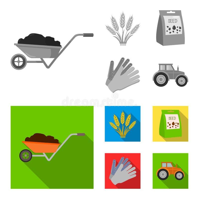 Ährchen des Weizens, ein Paket von Samen, ein Traktor, Handschuhe Gesetzte Sammlungsikonen des Bauernhofes im einfarbigen, flache lizenzfreie abbildung