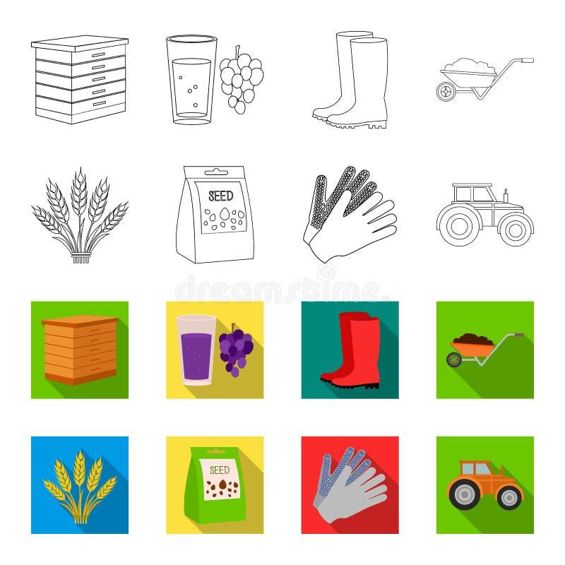 Ährchen des Weizens, ein Paket von Samen, ein Traktor, Handschuhe Gesetzte Sammlungsikonen des Bauernhofes im Entwurf, flaches Ar stock abbildung