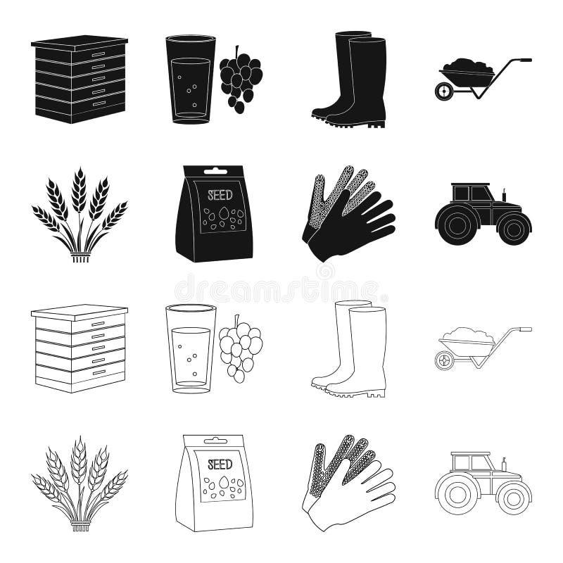 Ährchen des Weizens, ein Paket von Samen, ein Traktor, Handschuhe Gesetzte Sammlungsikonen des Bauernhofes im Schwarzen, Entwurfs vektor abbildung