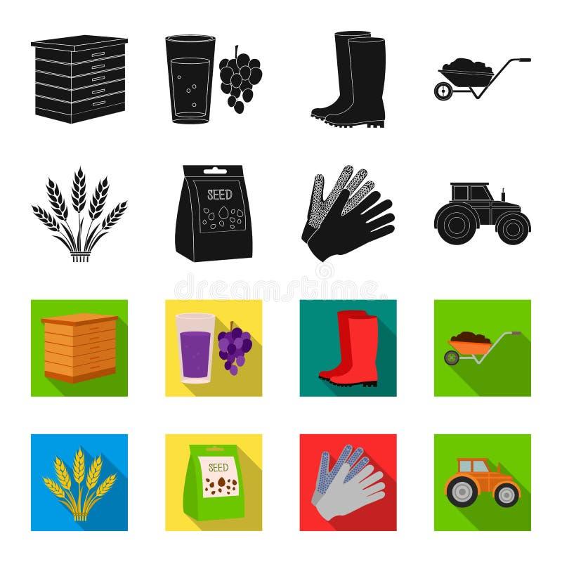 Ährchen des Weizens, ein Paket von Samen, ein Traktor, Handschuhe Gesetzte Sammlungsikonen des Bauernhofes im Schwarzen, flet Art vektor abbildung