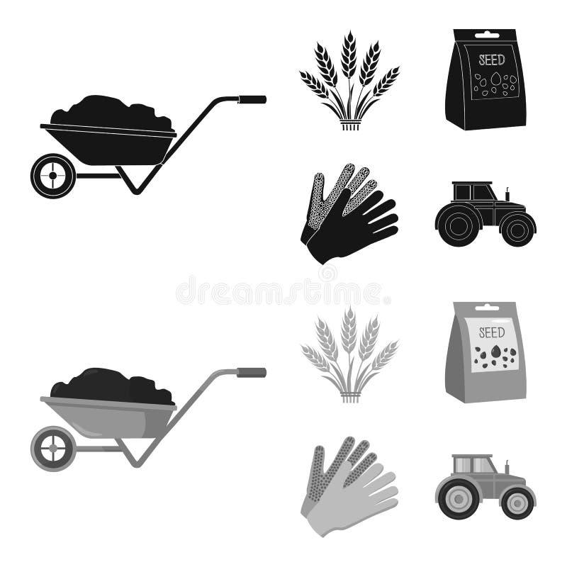 Ährchen des Weizens, ein Paket von Samen, ein Traktor, Handschuhe Gesetzte Sammlungsikonen des Bauernhofes im Schwarzen, monochro lizenzfreie abbildung