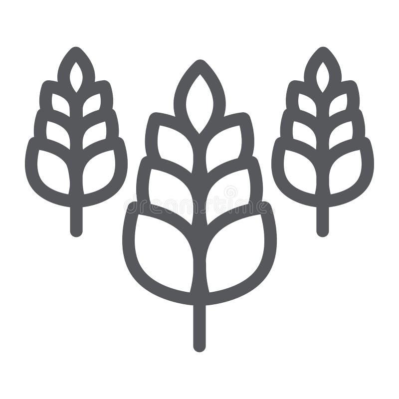 Ährchenlinie Ikone, Bauernhof und Landwirtschaft, Weizenzeichen, Vektorgrafik, ein lineares Muster auf einem weißen Hintergrund stock abbildung