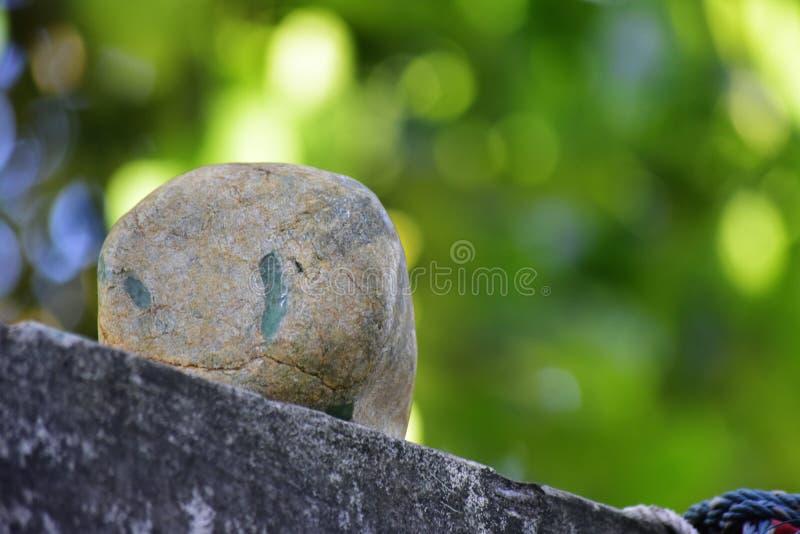 Äkta jade är ett naturligt klumpa sig Det inte har ännu klippts royaltyfria foton