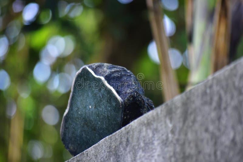 Äkta jade är ett naturligt klumpa sig Det inte har ännu klippts royaltyfria bilder