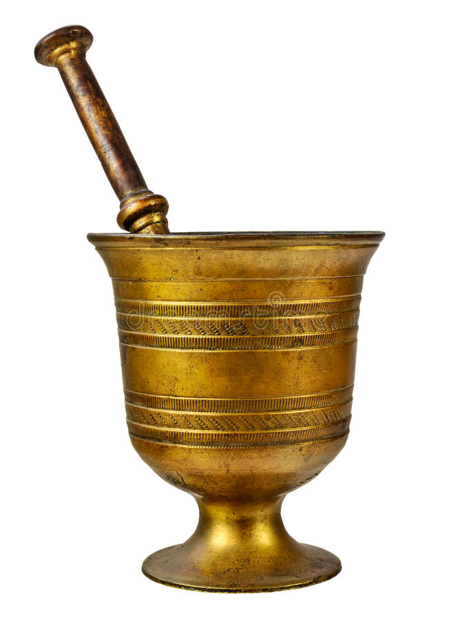 Äkta medeltida mortel som isoleras på vit royaltyfri fotografi