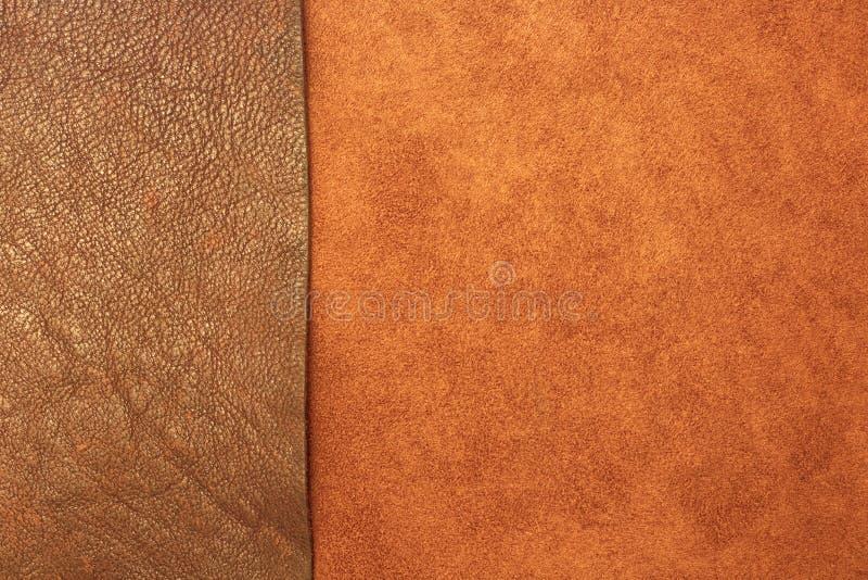 Olika typer av läder texturerar bakgrund royaltyfri bild