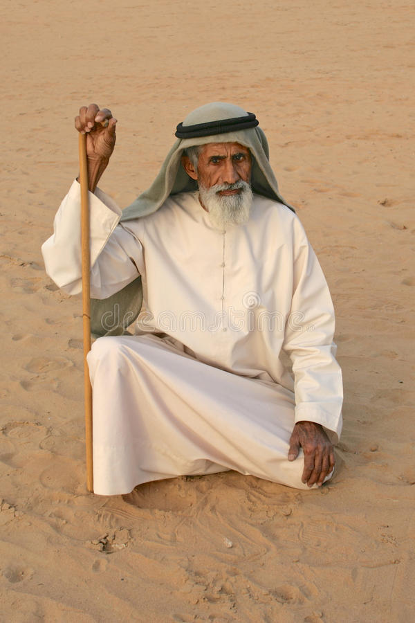 Äldre arabisk man arkivbilder