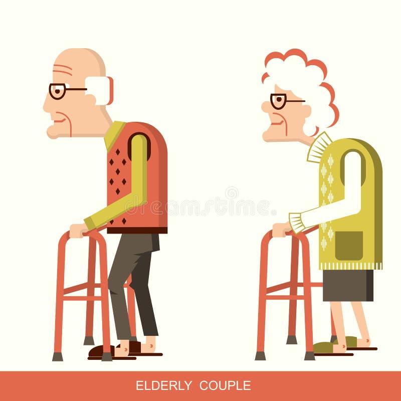 Äldre folk med att gå pinnar vektor illustrationer