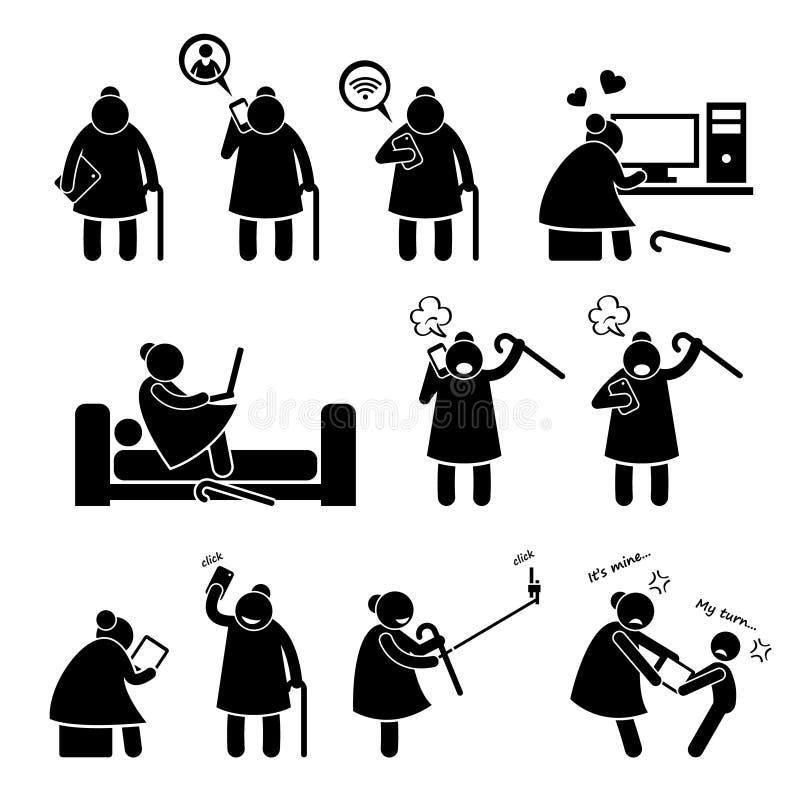 Äldre gammal kvinna som använder datorSmartphone Cliparts symboler royaltyfri illustrationer