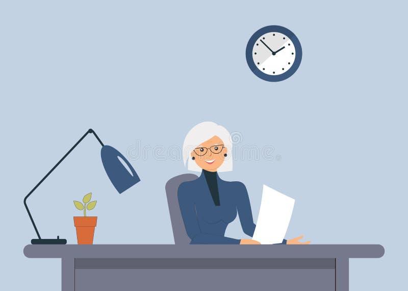 Äldre gullig kvinnlig att sitta på tabellen Universell bild för olika ockupationer: revisor revisor, chef, direktör, tjänsteman, vektor illustrationer