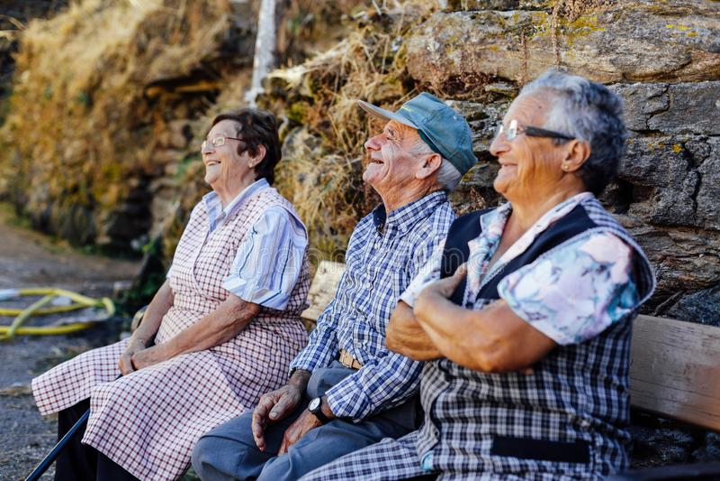 Äldre hängivet Galicianfolk att arbeta i fältet som lyckligt talar i landskapet av Orense, Galicia spain royaltyfri fotografi
