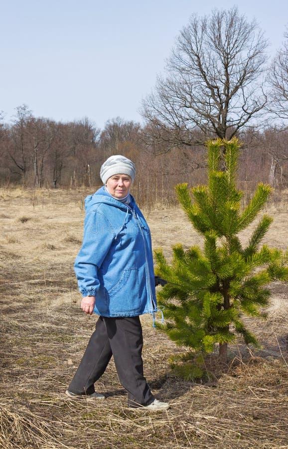 Äldre härlig kvinna i en vårskog royaltyfri bild