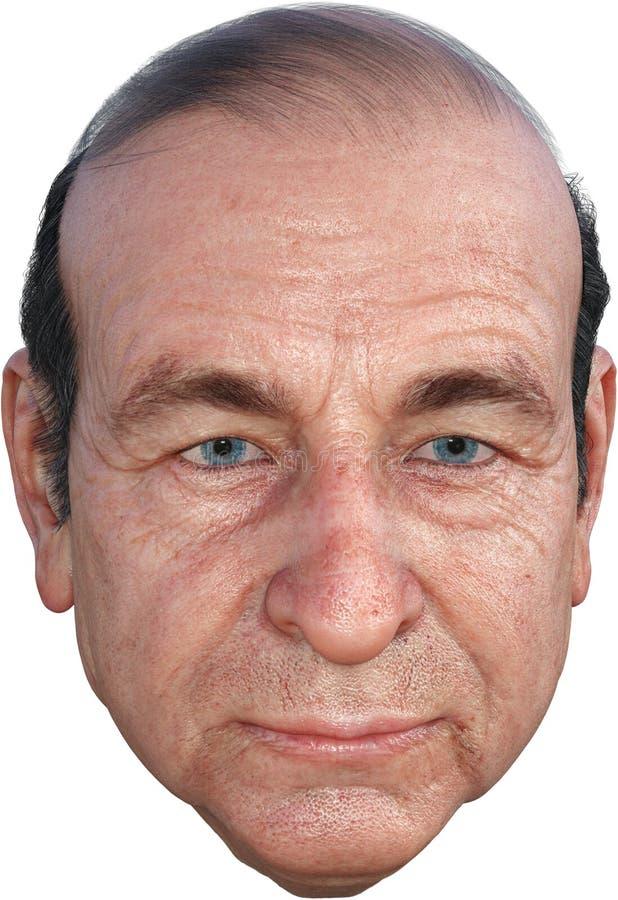 Äldre huvud för hög man, isolerat, skalligt som blir skallig fotografering för bildbyråer