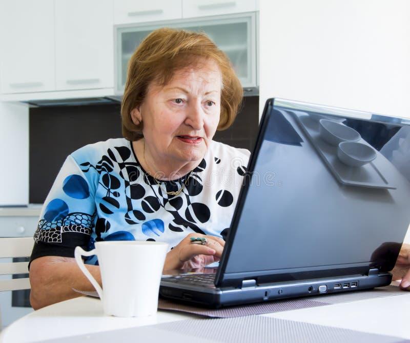 Äldre kvinna med en dator fotografering för bildbyråer