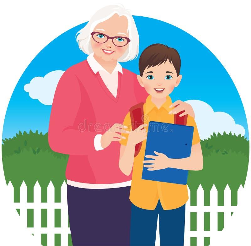Äldre kvinna med hennes sonsonskolpojke royaltyfri illustrationer