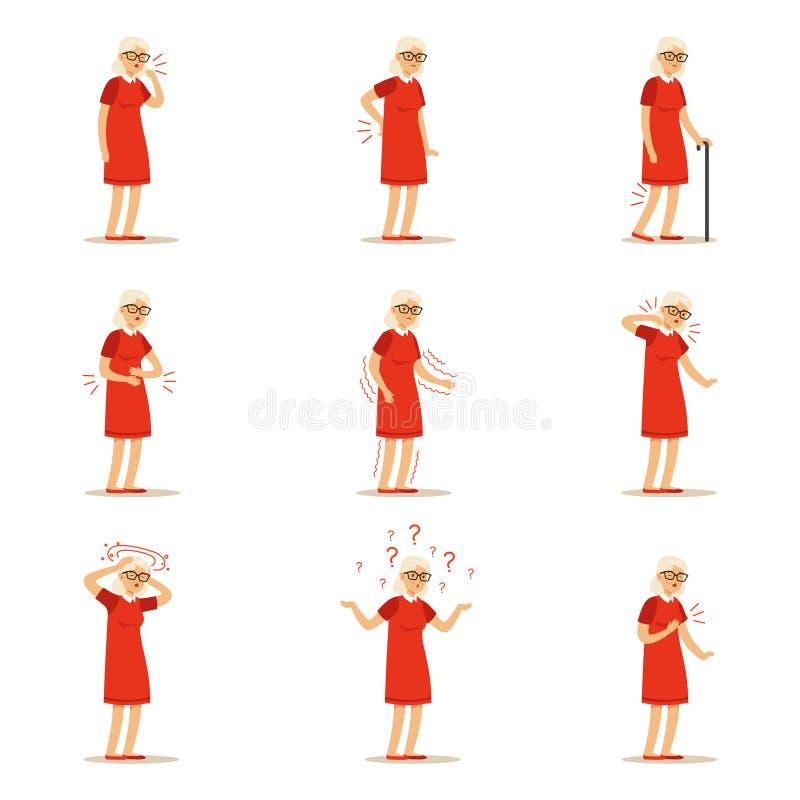 Äldre kvinnasjukdomar, smärtar problem i baksida, hånglar, beväpnar, hjärta, knäet och huvudet Hög hälsouppsättning av den färgri vektor illustrationer