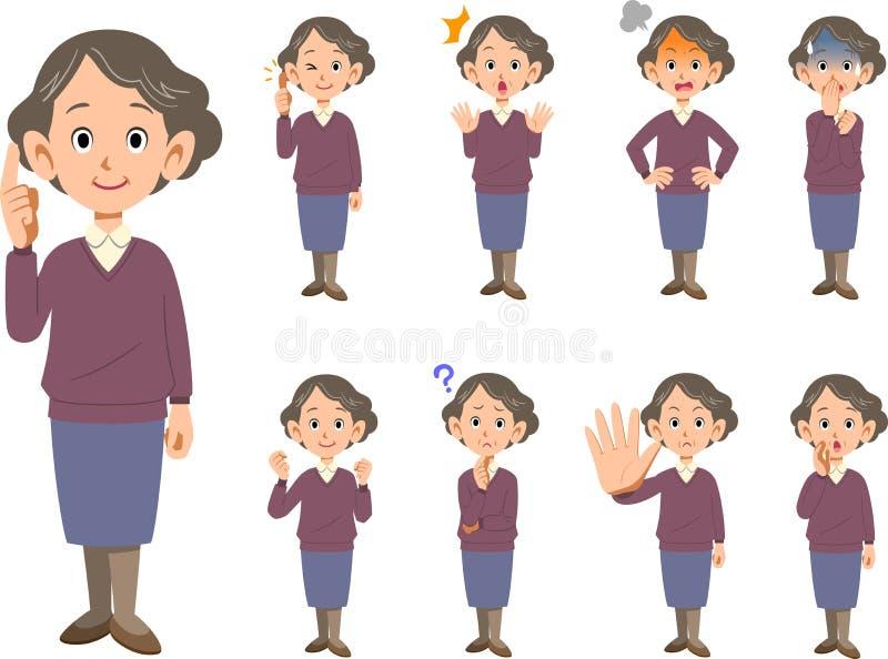 Äldre kvinnligt ansiktsuttryck och poserar typ_hel bo för uppsättning 9 royaltyfri illustrationer