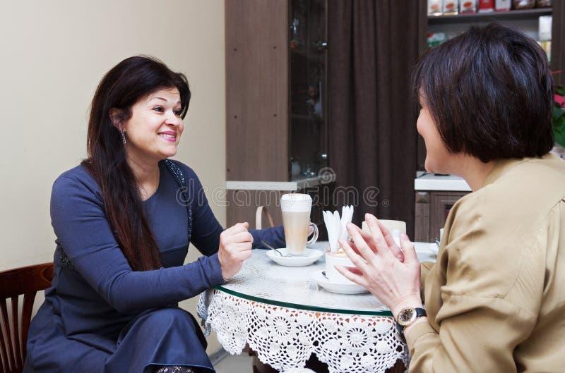 Äldre kvinnor i kafé fotografering för bildbyråer