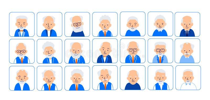 Äldre män för Avatars Illustrationer av huvud av pensionären i roun royaltyfri illustrationer