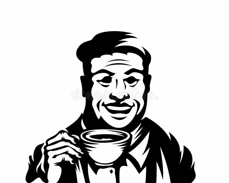 Äldre män som rymmer dricka koppar som illustrerar kaffe stock illustrationer