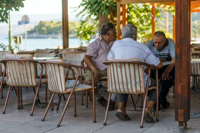 Äldre män som spelar schack arkivbilder