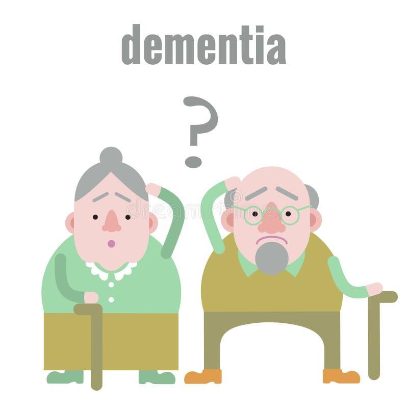Äldre man och kvinna med demens stock illustrationer