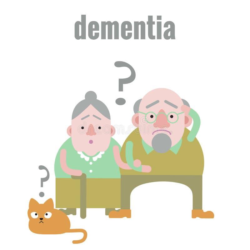 Äldre man och kvinna med demens i förvirrat tillstånd av meningen vektor illustrationer