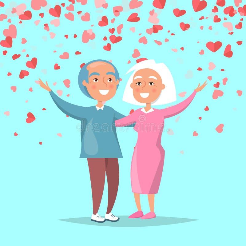 Äldre par överför glad hälsningsvalentindag royaltyfri illustrationer