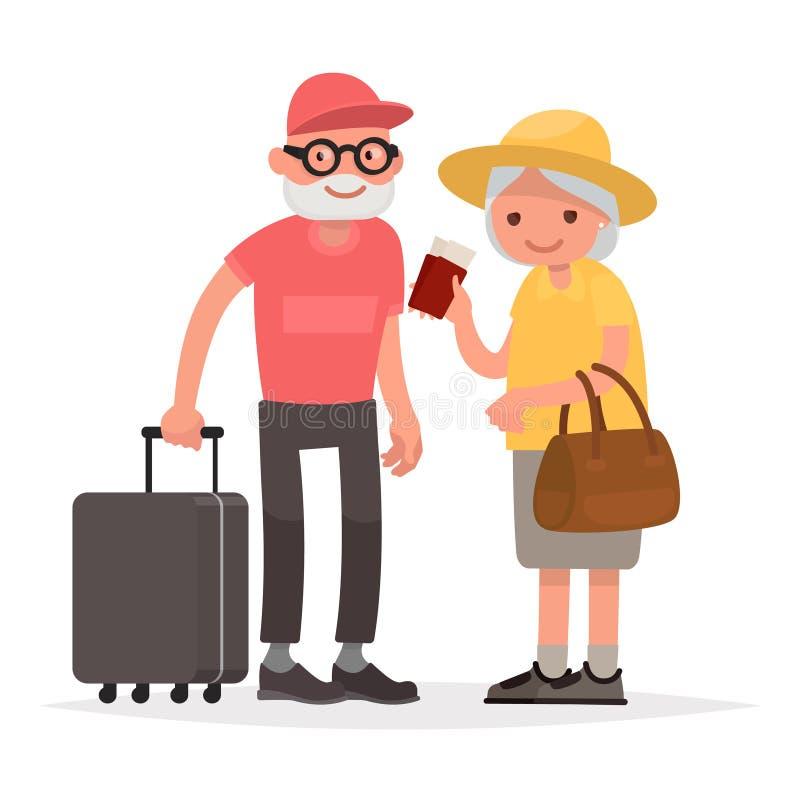 Äldre par av turister Farmor och farfar med sui vektor illustrationer