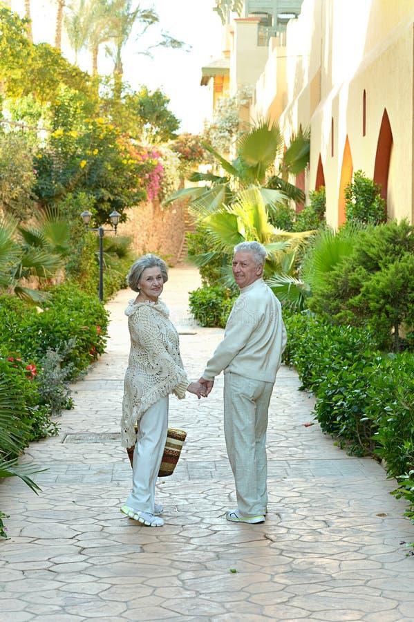 Äldre par på vändkretsen arkivfoton